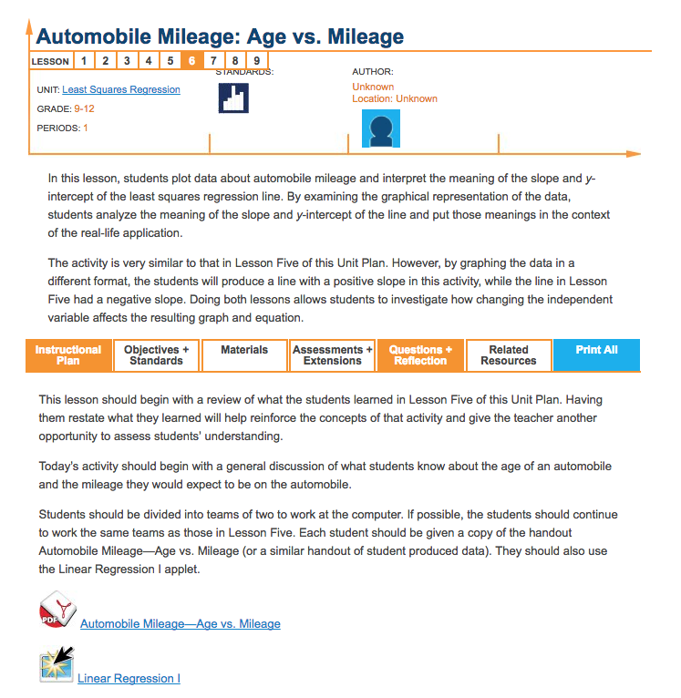 Automobile Mileage: Age vs. Mileage—Least Squares Regression Lesson Plan
