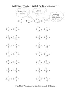 Add Mixed Numbers with Like Denominators (H) Worksheet
