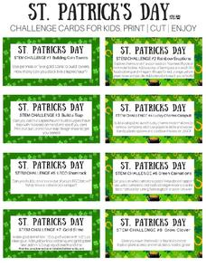 St. Patrick's Day Challenge Cards Activities & Project