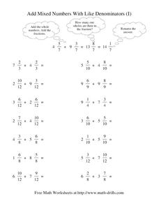 Add Mixed Numbers With Like Denominators (I) Worksheet