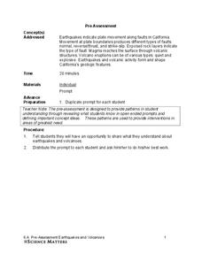 earthquakes and volcanoes pre assessment worksheet for 6th grade lesson planet. Black Bedroom Furniture Sets. Home Design Ideas