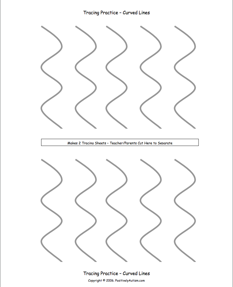 Tracing Practice with Curved Lines Worksheet for Pre-K