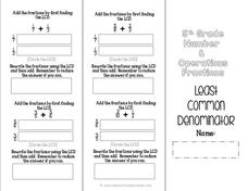 Fraction Brochures Worksheet