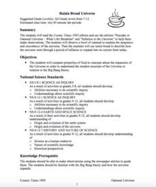 Raisin Bread Universe Lesson Plan