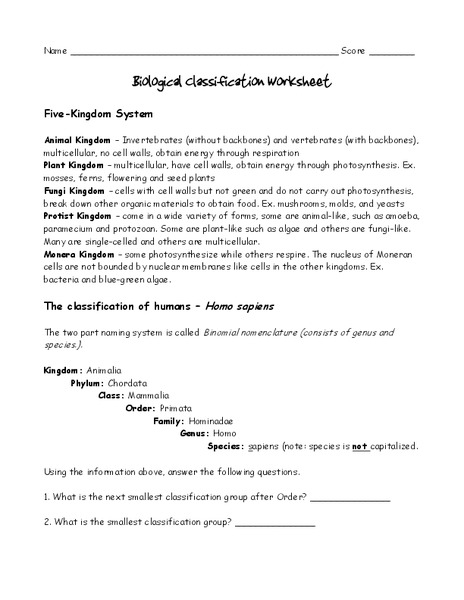 Biological Classification Worksheet Worksheet For 6th 8th