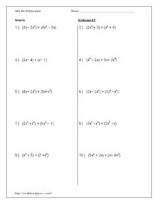 Add the Polynomials Worksheet