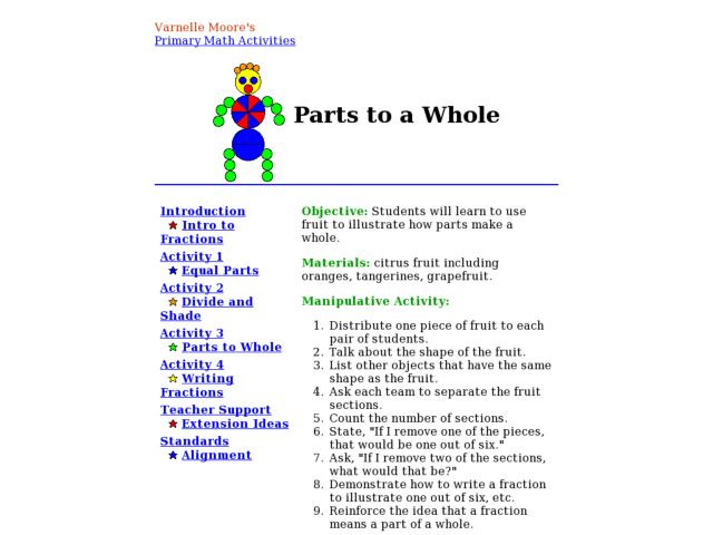 Parts to Whole Lesson Plan