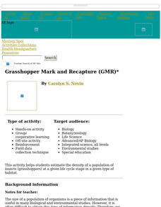 Grasshopper Mark and Recapture (GMR) Lesson Plan