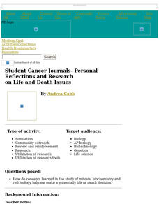 Student Cancer Journals -- Personal Reflections and Research on Life and Death Issues Lesson Plan