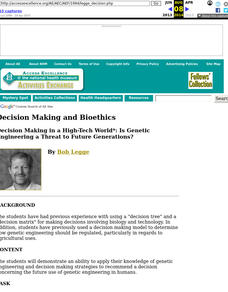 Decision Making and Bioethics Lesson Plan