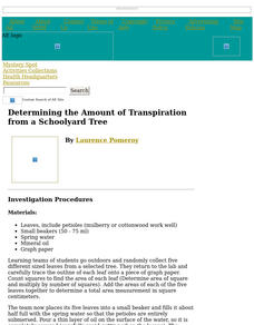 Determining the Amount of Transpiration from a Schoolyard Tree Lesson Plan