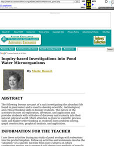 Inquiry-based Investigations into Pond Water Microorganisms Lesson Plan