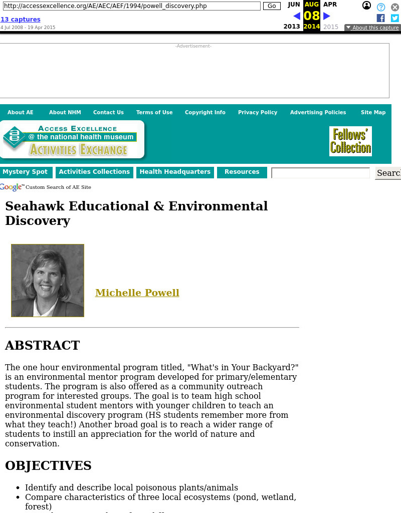 Seahawk Educational & Environmental Discovery Program Lesson Plan