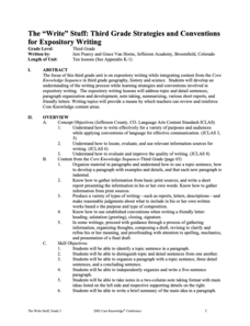 "The ""Write"" Stuff: Third Grade Strategies and Conventions for Expository Writing Lesson Plan"