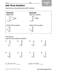 Add Three Numbers: Reteach Worksheet