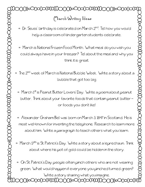 March Writing Ideas Writing Prompt