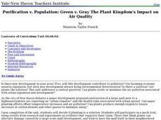 Purification v. Population: Green v. Gray The Plant Kingdom's Impact on Air Quality Lesson Plan