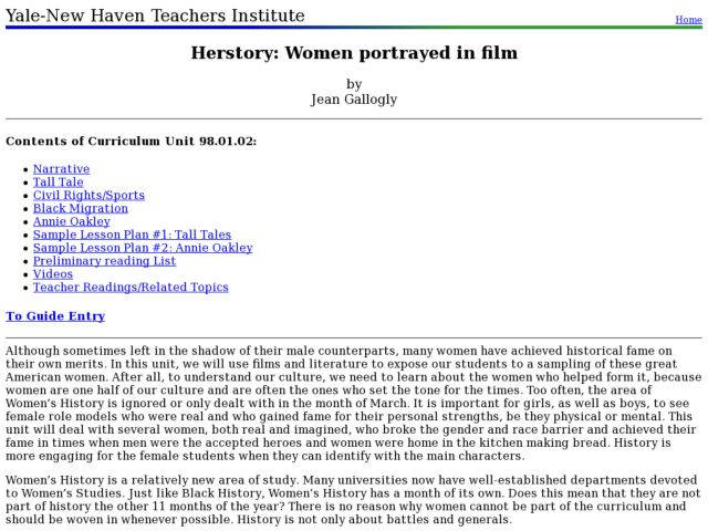 Herstory: Women portrayed in film Lesson Plan