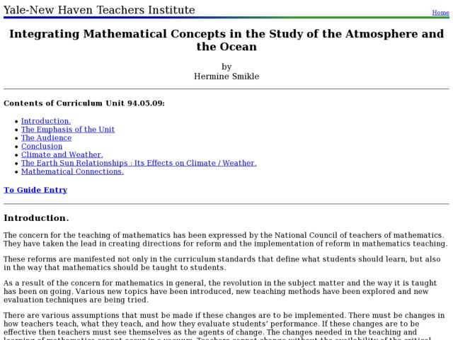 Integrating Mathematical Concepts in the Study of the Atmosphere and the Ocean Lesson Plan