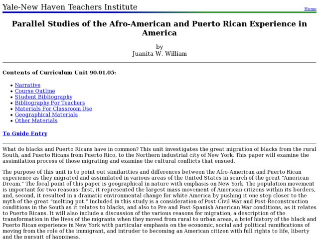 Parallel Studies of the Afro-American and Puerto Rican Experience in America Lesson Plan