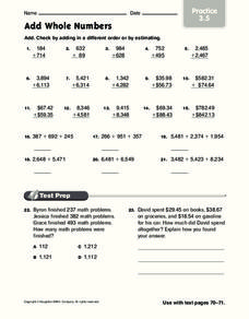 Add Whole Numbers Worksheet