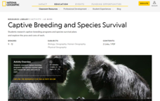 Captive Breeding and Species Survival Lesson Plan