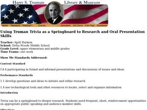 Using Truman Trivia as a Springboard to Research and Oral Presentation Skills Lesson Plan