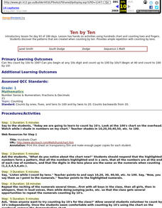 Ten by Ten Lesson Plan