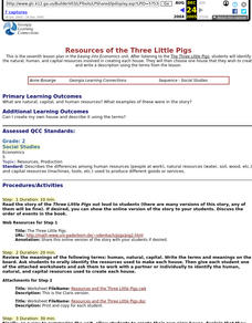 Resources of the Three Little Pigs Lesson Plan