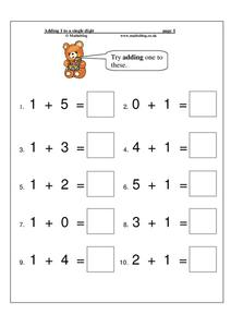 Adding 1 to a Single Digit Worksheet