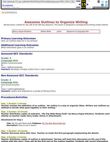 Awesome Outlines to Organize Writing Lesson Plan