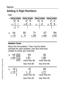 Adding 2-Digit Numbers Worksheet