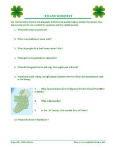 Ireland Webquest Activities & Project