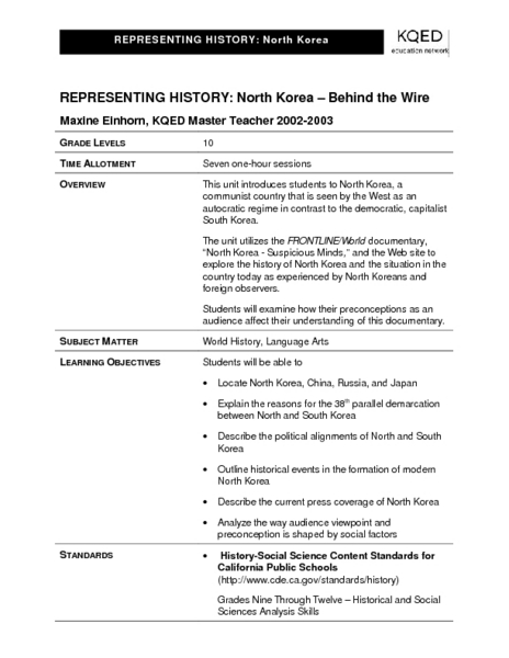 Representing History: North Korea - Behind the Wire Lesson Plan