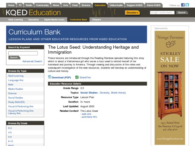 The Lotus Seed: Understanding Heritage and Immigration Lesson Plan