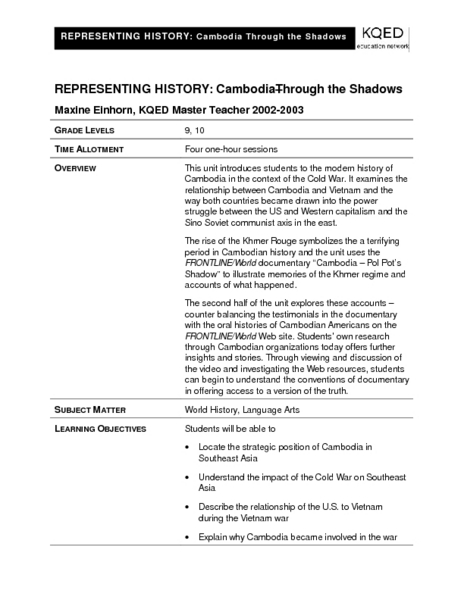 Representing History: Cambodia - Through the Shadows Lesson Plan