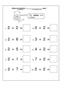 Adding 2 to a Single Digit Worksheet