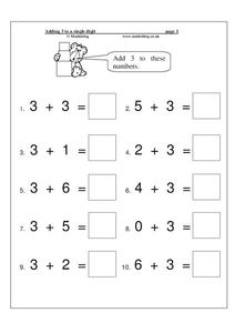 Adding 3 to a Single Digit Worksheet