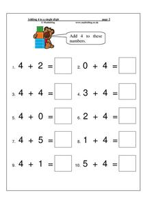 Adding 4 to a Single Digit Worksheet