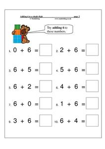 Adding 6 to a Single Digit Worksheet