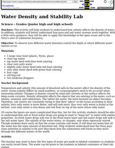Water Density and Stability Lab Lesson Plan