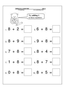 Adding 8 to a Single Digit Worksheet