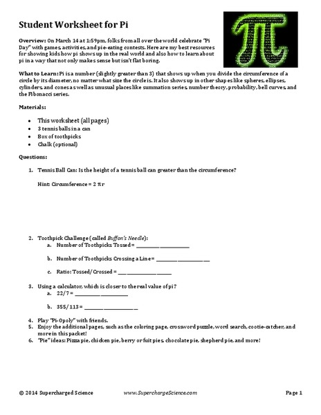 pi day lesson plans worksheets lesson planet