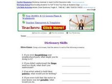 Dictionary Skills Worksheet Worksheet