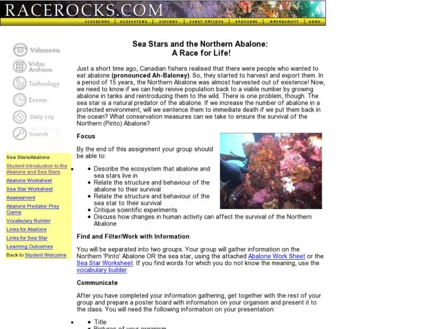 Sea Stars and the Northern Abalone: A Race for Life! Lesson Plan