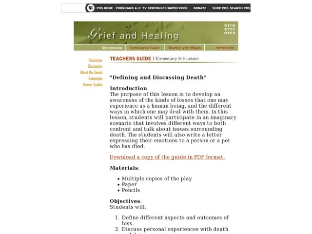 Defining and Discussing Death Lesson Plan