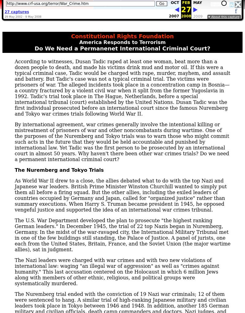 Do We Need a Permanenet International Criminal Court?: War