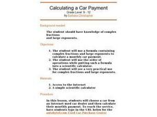Calculating A Car Payment Lesson Plan