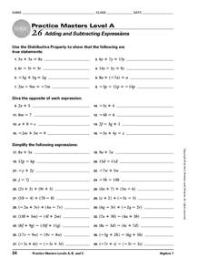 Adding and Subtracting Expressions Worksheet