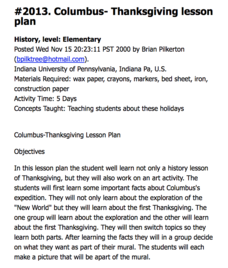 Columbus - Thanksgiving lesson plan Lesson Plan